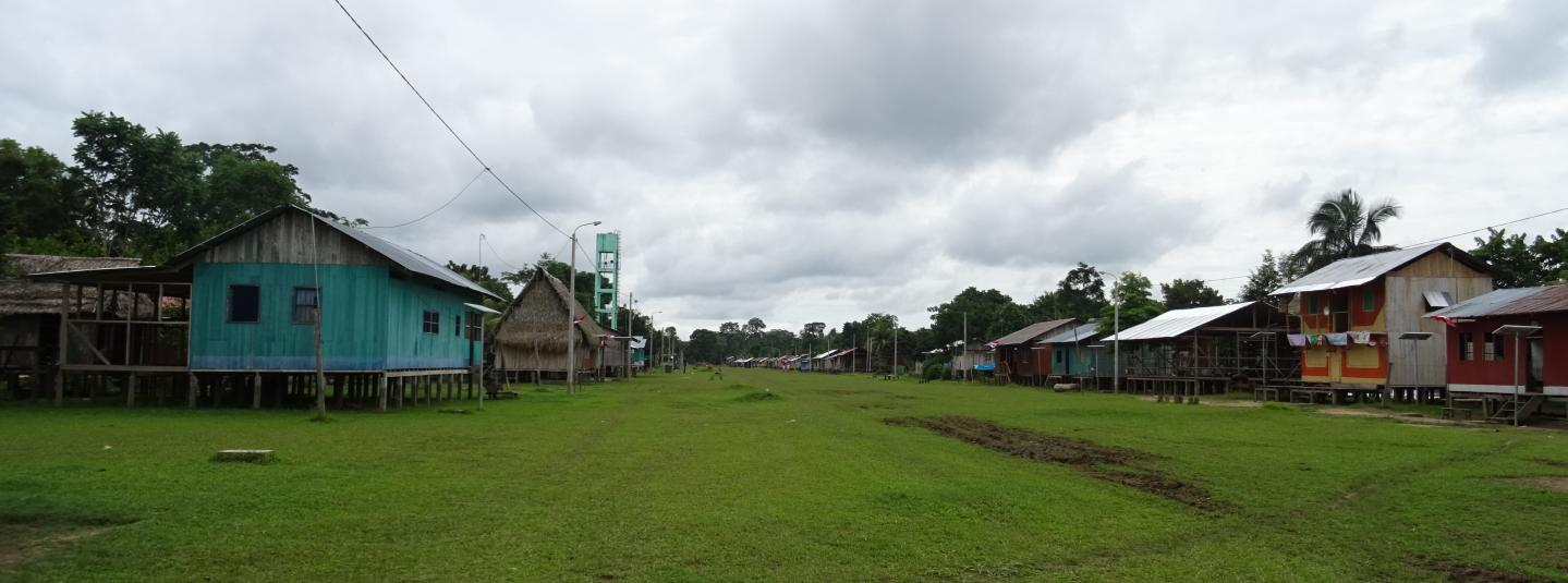 Indigenous community in the Amazon, buildings on either side of green grass, cloudy sky