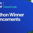 text graphic with words hackathon winner announcements and dousing developer logo